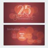 25 anos de convite do aniversário à ilustração do vetor da celebração Foto de Stock Royalty Free
