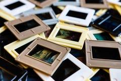 30 anos de corrediças de filme quadro velhas Imagens de Stock