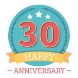 30 anos de emblema do aniversário Fotos de Stock