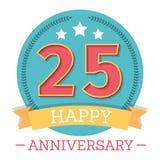 25 anos de emblema do aniversário Fotos de Stock Royalty Free