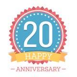 20 anos de emblema do aniversário Fotos de Stock