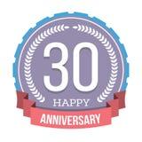 30 anos de emblema do aniversário Foto de Stock Royalty Free