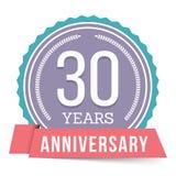 30 anos de emblema do aniversário Fotografia de Stock Royalty Free