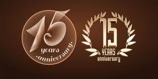 15 anos de grupo do aniversário de logotipo do vetor, ícone, número ilustração stock