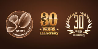 30 anos de grupo do aniversário de logotipo do vetor, ícone, número Fotos de Stock Royalty Free