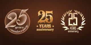 25 anos de grupo do aniversário de logotipo do vetor, ícone, número Fotos de Stock
