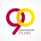 90 anos de logotipo clássico de comemoração velho ilustração royalty free