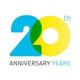 20 anos de logotipo clássico de comemoração velho ilustração do vetor