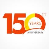 150 anos de logotipo clássico de comemoração velho Imagens de Stock