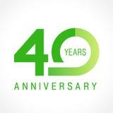 40 anos de logotipo clássico de comemoração velho Foto de Stock Royalty Free