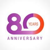 80 anos de logotipo clássico de comemoração velho Fotografia de Stock Royalty Free