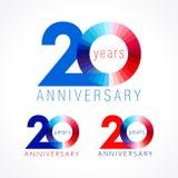 20 anos de logotipo colorido de comemoração velho ilustração stock
