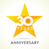 30 anos de logotipo de comemoração velho da estrela Fotos de Stock