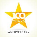 100 anos de logotipo de comemoração velho da estrela Fotografia de Stock Royalty Free