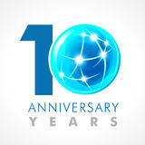 10 anos de logotipo de conexão de comemoração velho ilustração stock