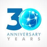 30 anos de logotipo de conexão de comemoração velho ilustração stock