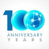100 anos de logotipo de conexão de comemoração velho Imagem de Stock Royalty Free