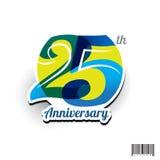 25 anos de logotipo do aniversário e projeto do símbolo Fotografia de Stock