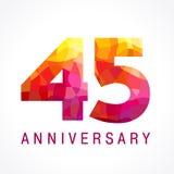45 anos de logotipo impetuoso de comemoração velho ilustração stock