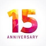 15 anos de logotipo impetuoso de comemoração velho Foto de Stock Royalty Free