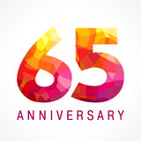 65 anos de logotipo impetuoso de comemoração velho Fotos de Stock Royalty Free