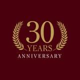 30 anos de logotipo luxuoso velho Imagens de Stock Royalty Free