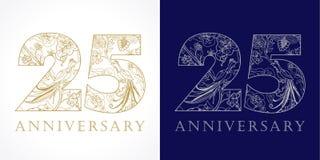 25 anos de logotipo luxuoso velho Foto de Stock