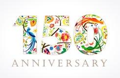 150 anos de logotipo popular de comemoração luxuoso velho Fotografia de Stock Royalty Free