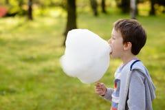 7 anos de menino que come o floss dos doces no parque Imagens de Stock