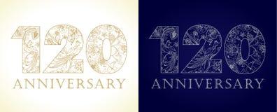 120 anos de números de comemoração luxuosos velhos ilustração royalty free