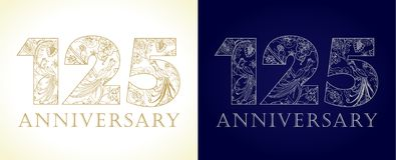 125 anos de números de comemoração luxuosos velhos ilustração do vetor