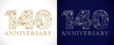 140 anos de números de comemoração luxuosos velhos Fotografia de Stock