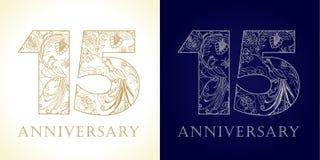 15 anos de números populares de comemoração luxuosos velhos Imagem de Stock