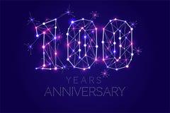100 anos de projeto do aniversário Formulário abstrato com linhas conectadas Fotos de Stock Royalty Free