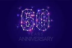 60 anos de projeto do aniversário Formulário abstrato com linhas conectadas ilustração royalty free