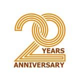 20 anos de símbolo do aniversário Imagens de Stock
