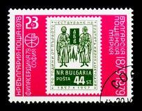 100 anos de selos búlgaros, serie do ` 79 de Philaserdica, cerca de 1978 Imagens de Stock