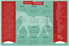 2014 anos do calendário do cavalo Fotos de Stock Royalty Free