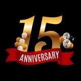 15 anos dourados do molde do aniversário com vetor vermelho Illu da fita Fotografia de Stock