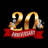 20 anos dourados do molde do aniversário com vetor vermelho Illu da fita Imagens de Stock Royalty Free
