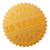 18 ANOS dourados do selo da medalha ilustração do vetor