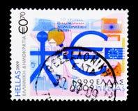 10 anos econômico e União Monetária de Europa, aniversários Fotos de Stock Royalty Free