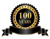 100 anos elegantes do selo do aniversário com fita Foto de Stock Royalty Free