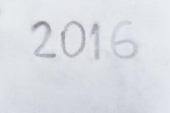 2016 anos escritos na neve, concpet da inspiração 2016 Fotografia de Stock