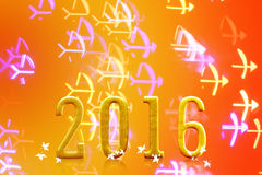 2016 anos na luz borrada do bokeh Imagens de Stock Royalty Free