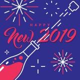 2019 anos novo feliz Champagne Bottle Fireworks Greetings Card ilustração do vetor