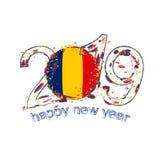 2019 anos novo feliz com a bandeira de Chade Mal do vetor do grunge do feriado Ilustração Royalty Free