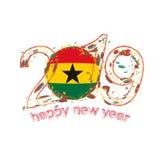 2019 anos novo feliz com a bandeira de Gana Vetor IL do grunge do feriado Ilustração do Vetor
