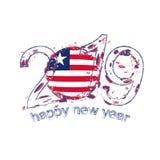 2019 anos novo feliz com a bandeira de Libéria Vetor do grunge do feriado Ilustração Royalty Free