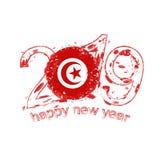 2019 anos novo feliz com a bandeira de Tunísia Vetor do grunge do feriado Ilustração Stock